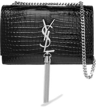 Saint Laurent Monogramme Kate Croc-effect Leather Shoulder Bag - Black