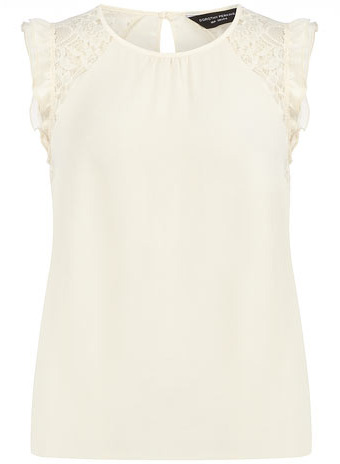 Dorothy Perkins Ivory lace shoulder frill top