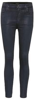 J Brand Alana high-rise printed coated jeans