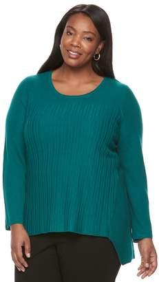 Dana Buchman Plus Size Sharkbite Hem Knit Sweater