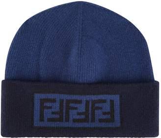 Fendi Tonal Wool Cashmere Beanie Hat