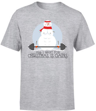 All I Want For Christmas Is Gains T-Shirt - Grey