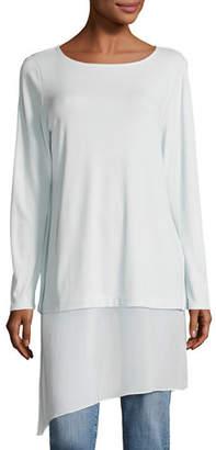 Eileen Fisher Bateau-Neck Layered Tunic w/ Asymmetric Sheer Hem, Petite