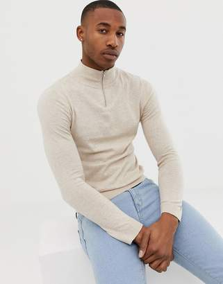 Asos DESIGN turtleneck sweater with zip in oatmeal