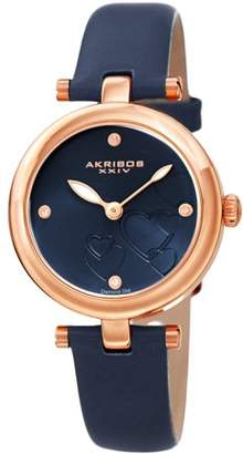 Akribos XXIV Rose Gold Tone Casual Quartz Watch With Leather Strap [AK1044BU]