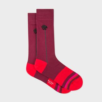 Men's Burgundy Colour Block And Floral Socks $30 thestylecure.com