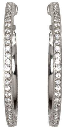 Kenneth Jay Lane Silver And Crystal Pave Hoop Pierced Or Clip Earrings