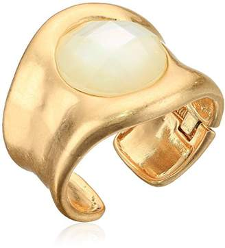 Robert Lee Morris Womens Moonrise Gold and White Mother of Pearl Cuff Bracelet
