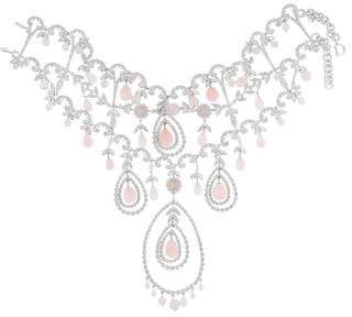 Christian Dior Rose Quartz & Crystal Collar Necklace