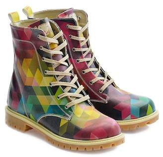 Goby Colorblock Prism Print Combat Boots
