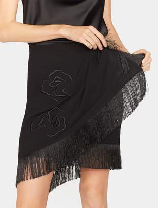 Halston Floral Embroidered Wrap Fringe Skirt
