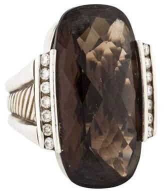 David Yurman Smoky Quartz & Diamond Deco Ring