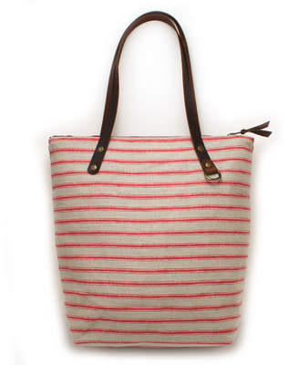 General Knot & Co Portsmouth Red Linen Stripe Portfolio Tote