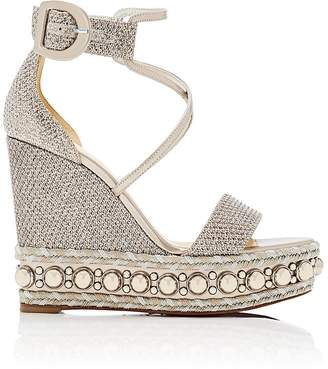 Christian Louboutin Women's Chocazeppa Glitter Mesh Platform-Wedge Sandals