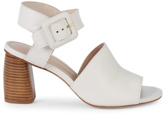 Stuart Weitzman Savy Stacked-Heel Leather Ankle Strap Sandals