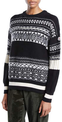 Moncler Fair Isle Knit Tricot Pullover Sweater