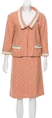 Couture St. John Beaded Tweed Skirt Suit