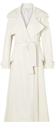 Sara Battaglia Belted Faux Leather Trench Coat - White