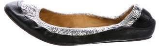 Lanvin Metallic Round-Toe Flats