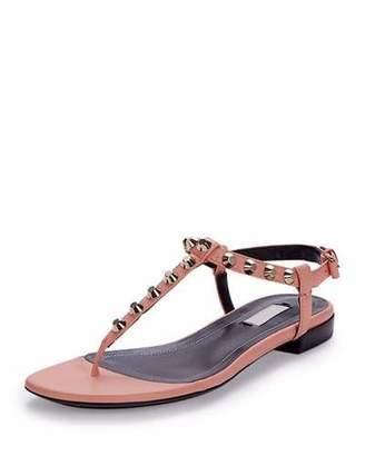 Balenciaga Studded Leather Thong Sandal, Rose $535 thestylecure.com
