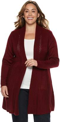 Dana Buchman Plus Size Pleated Open-Work Cardigan Sweater