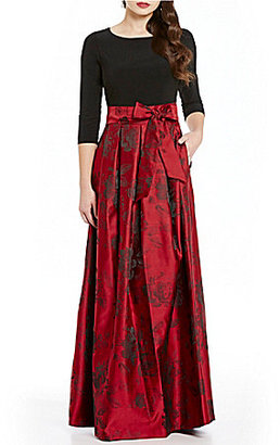 Jessica Howard 3/4 Sleeve Floral Printed Ballgown $160 thestylecure.com