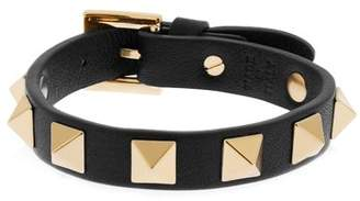 Valentino Rockstud Leather Bracelet - Womens - Black