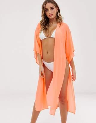 1bd0cdc1dd Asos Design DESIGN tie front beach kimono in fluro orange