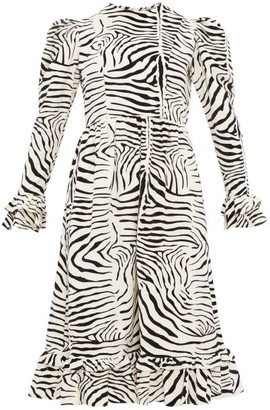 Batsheva Zebra Print Cotton Velvet Dress - Womens - Cream Multi
