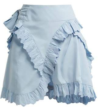 Etoile Isabel Marant Milou Broderie Anglaise Ruffled Wrap Skirt - Womens - Light Blue