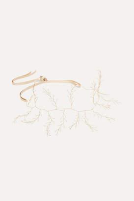 14 / Quatorze - Baby's Breath Gold-tone Pearl Headband - White