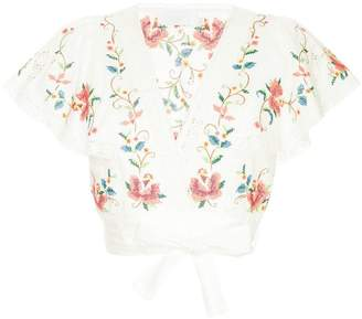Zimmermann embroidered floral cropped blouse
