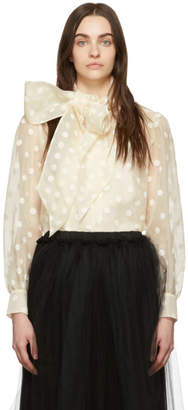 Marc Jacobs Off-White Dot Bow Shirt