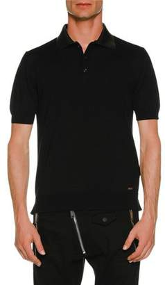 DSQUARED2 Polo Shirt w/ Leather Collar