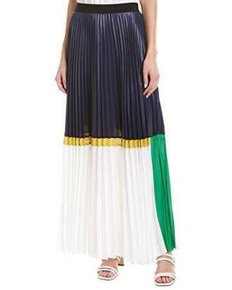 BCBGMAXAZRIA Women's Colorblocked Pleated Chintz Maxi Skirt