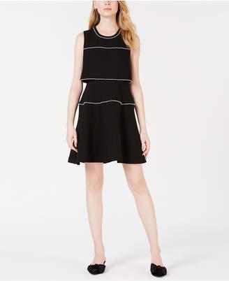 Maison Jules Pearl-Trim Fit & Flare Dress