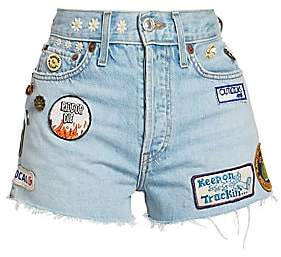 RE/DONE Women's Embellished Patch Jean Shorts