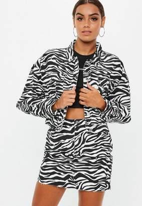 Missguided White Zebra Print Cropped Denim Jacket