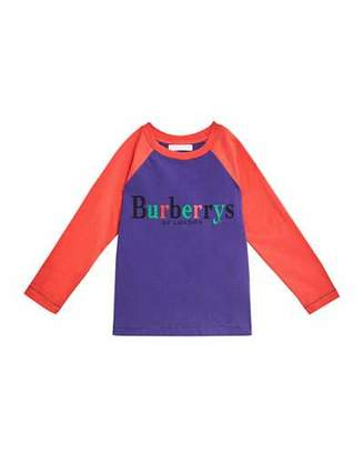 Burberry Multicolored Burberrys Logo Baseball Tee, Size 4-14