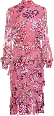 Saloni Issa Ruffled Floral-Print Silk-Chiffon Dress