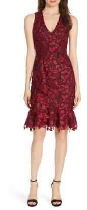 Alice + Olivia Katia Ruffled Lace Sheath Dress