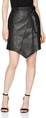 BCBGMAXAZRIA Women's Yulissa Faux-Leather Wrap Skirt, xs