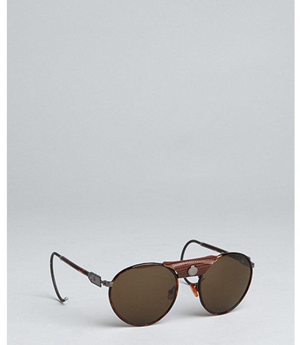 Proenza Schouler brown tortoise limited edition round aviator sunglasses