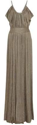 Derek Lam 10 Crosby Pleated Metallic Twill Maxi Dress