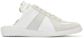 Maison Margiela White Deconstructed Slide Sneakers $495 thestylecure.com
