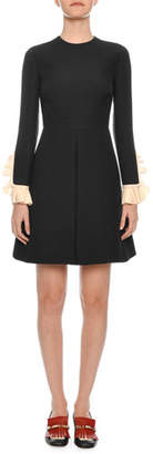 Valentino Long-Sleeve Belted Contrast-Cuff Crepe Couture Short Dress