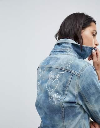 Vivienne Westwood Denim Jacket With War Peace Logo