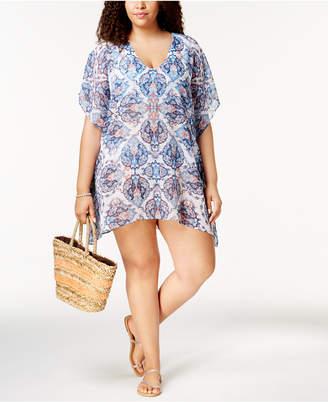 Becca Etc Plus Size Naples Chiffon Cover-Up Women's Swimsuit
