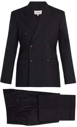Maison Margiela Pinstripe Double Breasted Suit - Mens - Navy