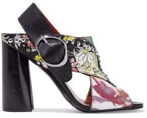 3.1 Phillip Lim Leather-Trimmed Studded Printed Twill And Crepe Sandals
